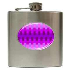 Geometric Cubes Pink Purple Blue Hip Flask (6 oz)