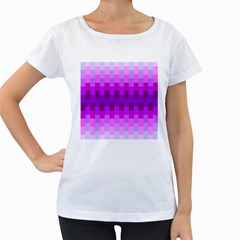 Geometric Cubes Pink Purple Blue Women s Loose-Fit T-Shirt (White)