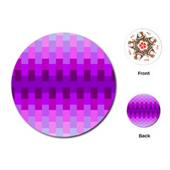 Geometric Cubes Pink Purple Blue Playing Cards (Round)