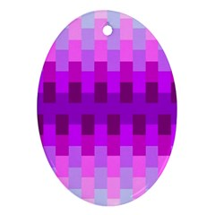 Geometric Cubes Pink Purple Blue Oval Ornament (Two Sides)