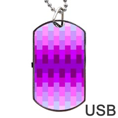 Geometric Cubes Pink Purple Blue Dog Tag USB Flash (Two Sides)