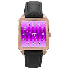 Geometric Cubes Pink Purple Blue Rose Gold Leather Watch