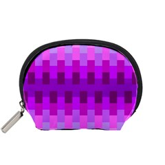 Geometric Cubes Pink Purple Blue Accessory Pouches (Small)