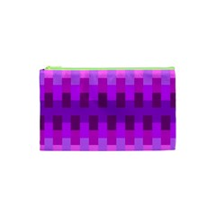 Geometric Cubes Pink Purple Blue Cosmetic Bag (xs)