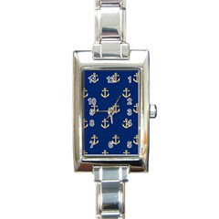 Gold Anchors Background Rectangle Italian Charm Watch