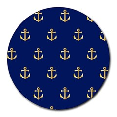 Gold Anchors Background Round Mousepads