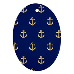 Gold Anchors Background Ornament (Oval)