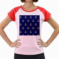 Gold Anchors Background Women s Cap Sleeve T-Shirt