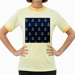 Gold Anchors Background Women s Fitted Ringer T-Shirts