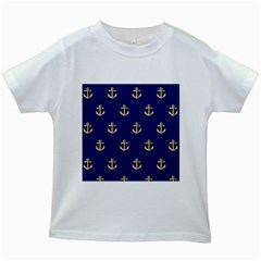 Gold Anchors Background Kids White T-Shirts