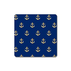 Gold Anchors Background Square Magnet