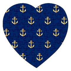 Gold Anchors Background Jigsaw Puzzle (Heart)