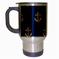 Gold Anchors Background Travel Mug (Silver Gray)