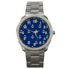 Gold Anchors Background Sport Metal Watch