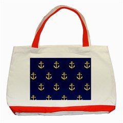 Gold Anchors Background Classic Tote Bag (Red)