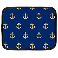 Gold Anchors Background Netbook Case (Large)