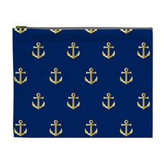 Gold Anchors Background Cosmetic Bag (XL)