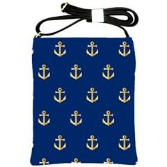 Gold Anchors Background Shoulder Sling Bags