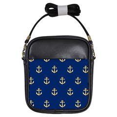 Gold Anchors Background Girls Sling Bags