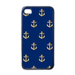 Gold Anchors Background Apple iPhone 4 Case (Black)