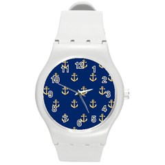 Gold Anchors Background Round Plastic Sport Watch (M)