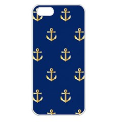 Gold Anchors Background Apple iPhone 5 Seamless Case (White)