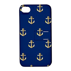 Gold Anchors Background Apple iPhone 4/4S Hardshell Case with Stand
