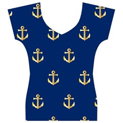 Gold Anchors Background Women s V-Neck Cap Sleeve Top