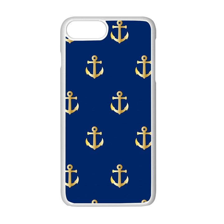 Gold Anchors Background Apple iPhone 7 Plus White Seamless Case