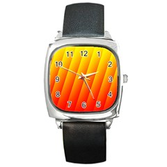 Graphics Gradient Orange Red Square Metal Watch