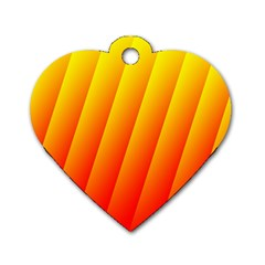 Graphics Gradient Orange Red Dog Tag Heart (two Sides)