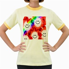 Happy Flowers Women s Fitted Ringer T-Shirts