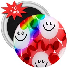 Happy Flowers 3  Magnets (10 pack)