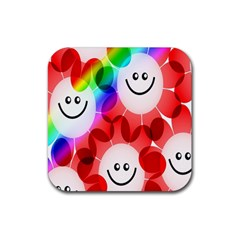 Happy Flowers Rubber Square Coaster (4 pack)