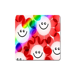 Happy Flowers Square Magnet