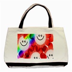 Happy Flowers Basic Tote Bag (Two Sides)