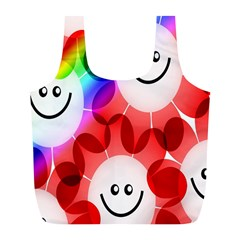 Happy Flowers Full Print Recycle Bags (L)