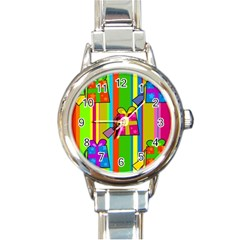 Holiday Gifts Round Italian Charm Watch