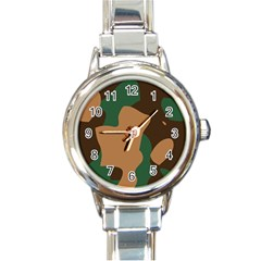 Military Camouflage Round Italian Charm Watch