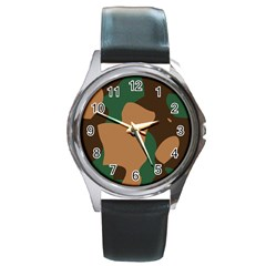 Military Camouflage Round Metal Watch
