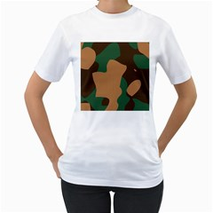 Military Camouflage Women s T-Shirt (White) (Two Sided)