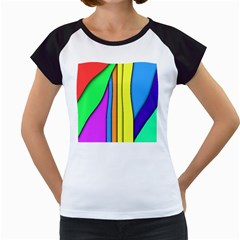 More Color Abstract Pattern Women s Cap Sleeve T