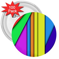 More Color Abstract Pattern 3  Buttons (100 pack)