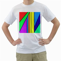 More Color Abstract Pattern Men s T-Shirt (White) (Two Sided)