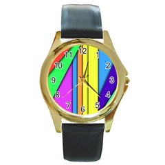More Color Abstract Pattern Round Gold Metal Watch