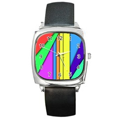 More Color Abstract Pattern Square Metal Watch