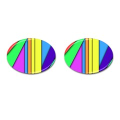More Color Abstract Pattern Cufflinks (Oval)