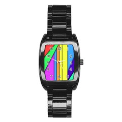 More Color Abstract Pattern Stainless Steel Barrel Watch