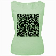 Noise Texture Graphics Generated Women s Green Tank Top