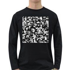 Noise Texture Graphics Generated Long Sleeve Dark T-Shirts